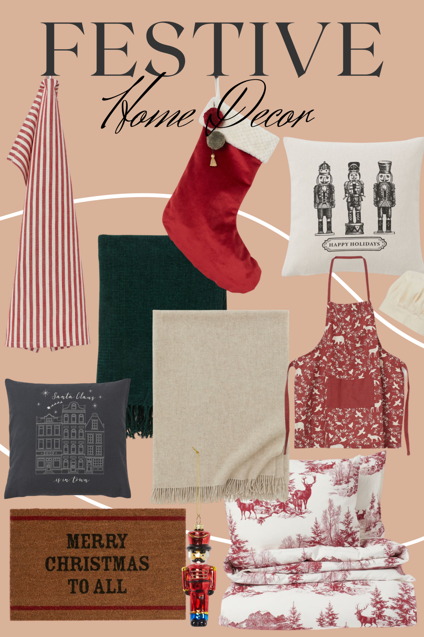 H&M Christmas Home Decor, Stockings, Cushions, Aprons, blacnkets
