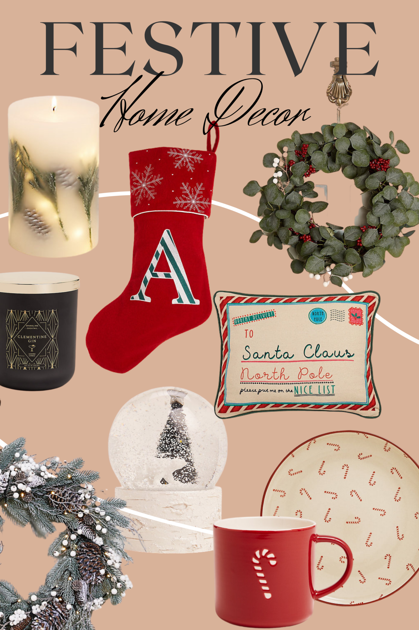 Marks and Spencer Christmas decor for the home. Featuring candles, initial stockings, wreaths, cushions, snow globes